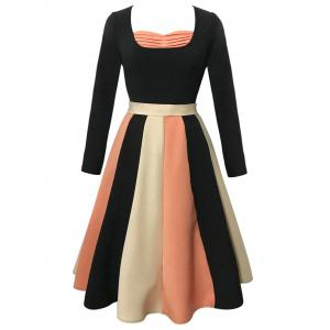 Vintage Long Sleeve Color Block Flare Dress - BLACK S