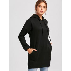 Drop Shoulder Mini Hoodie Dress - BLACK M