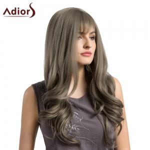 Adiors Long See-Trough Fringe Layered Curly Synthetic Wig - GRAY