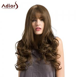 Adiors Long See-Trough Fringe Layered Curly Synthetic Wig - BROWN