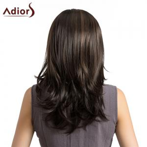 Adiors Medium Side Parting Highlight Layered Slightly Curled Synthetic Wig - COLORMIX