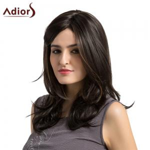 Adiors Medium Side Parting Highlight Layered Slightly Curled Synthetic Wig -