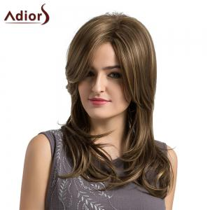 Adiors Long Side Parting Highlighted Layered Slightly Curled Synthetic Wig -