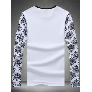 Long Sleeve Retro Floral Graphic Tee - WHITE 5XL