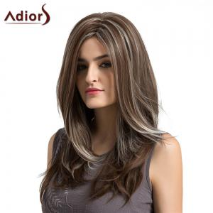 Adiors Long Side Parting Layered Highlight Natural Straight Synthetic Wig - COLORMIX
