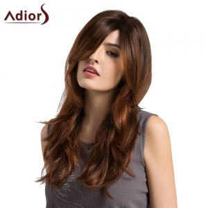 Adiors Long Side Parting Layered Slightly Curled Ombre Synthetic Wig - BLACK AND BROWN