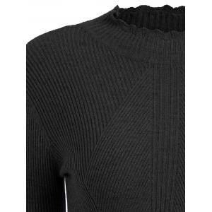 Plus Size Ribbed High Neck Scalloped Knitwear - BLACK 3XL