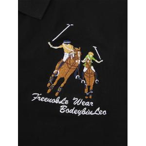Embroidered Half Button Long Sleeve T-shirt - BLACK XL