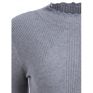 Plus Size Ribbed High Neck Scalloped Knitwear - GRAY 4XL