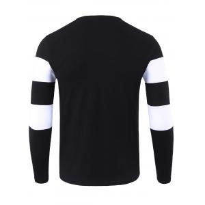 Crewneck Stripe Long Sleeve T-shirt - BLACK XL