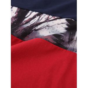 Forest Print Color Block Long Sleeve Tee -