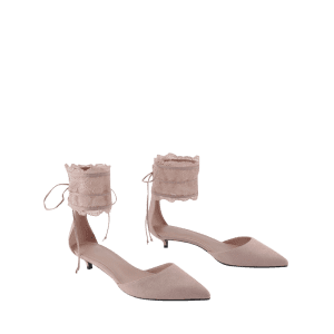 Ankle Strap Two Pieces Pointed Toe Sandals - SHALLOW PINK 35