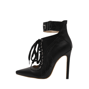 Stiletto Stitching Pointed Toe Ankle Boots - Noir 35