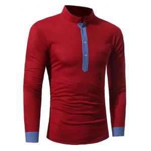 Color Block Panel Long Sleeve T-shirt - WINE RED M