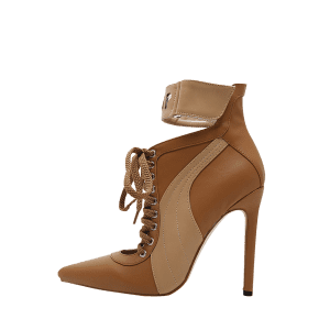 Stiletto Stitching Pointed Toe Ankle Boots - Brun 39