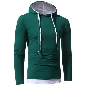 Faux Twinset Hooded Drawstring T-shirt - GREEN M