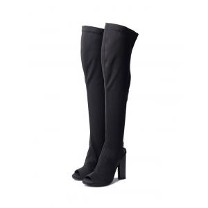 Chunky Slingback Peep Toe Thigh High Boots - BLACK 35