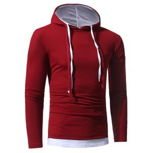 Faux Twinset Hooded Drawstring T-shirt - WINE RED 3XL