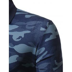 Camouflage Polo Collar Long Sleeve T-shirt - BLUE M