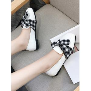 Slip On Square Toe Bowknot Flat Shoes - WHITE 39