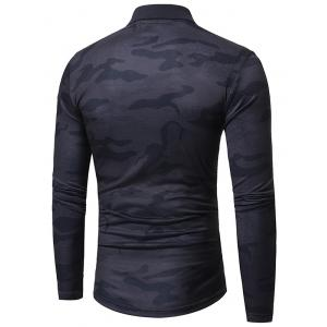 Camouflage Polo Collar Long Sleeve T-shirt - GRAY 3XL