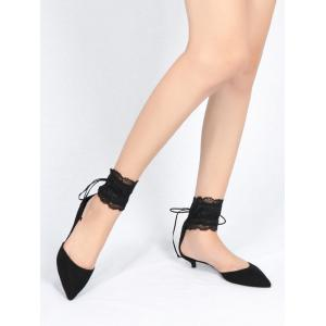 Ankle Strap Two Pieces Pointed Toe Sandals - BLACK 37