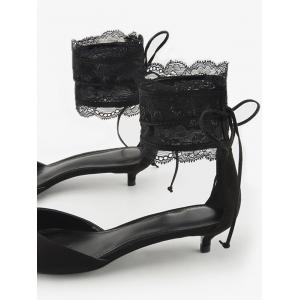 Ankle Strap Two Pieces Pointed Toe Sandals - BLACK 38