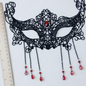 Faux Ruby Teardrop Halloween Lace Party Mask - BLACK