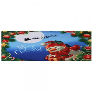 Merry Christmas Snowman Pattern Anti-skid Water Absorption Area Rug -
