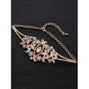 Rhinestone Sparkly Alloy Leaf Necklace - GOLDEN