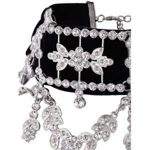 Rhinestone Alloy Flower Leaf Choker Necklace - SILVER