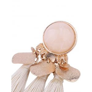 Faux Gemstone Alloy Leaf Disc Tassel Earrings -