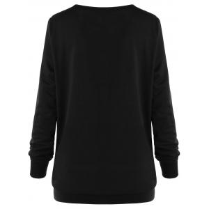 Plus Size Painting Two Tone Sweatshirt - WHITE AND BLACK XL