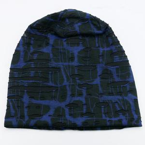 Plaid Stripe Print Ripped Knit Beanie - Bleu