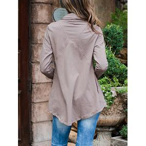 Asymmetric Draped Jacket - LIGHT COFFEE S