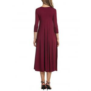 Casual A Line Midi Day Dress - WINE RED 2XL