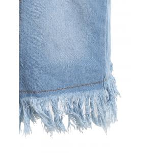 Frayed Distressed Tunic Denim Vest - CLOUDY M