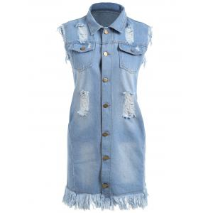 Frayed Distressed Tunic Denim Vest - CLOUDY 2XL