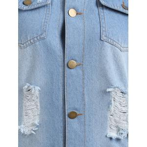 Frayed Distressed Tunic Denim Vest -