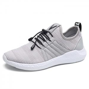 Mesh Stripes Athletic Shoes - GRAY 42