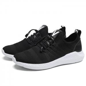 Mesh Stripes Athletic Shoes - BLACK WHITE 41