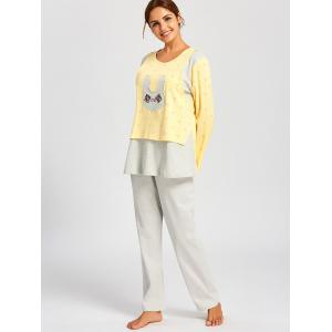 Cotton Rabbits Print Nursing PJ Set - LIGHT YELLOW M