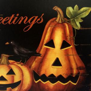 Halloween Pumpkins Pattern Door Decor Wooden Hanging Sign - MANDARIN