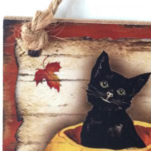 Halloween Cat Pattern Door Decor Wooden Hanging Sign -