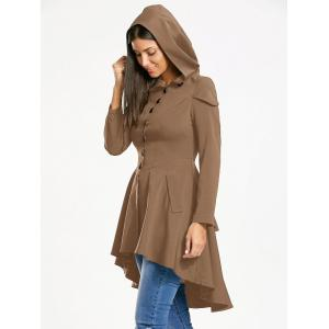 Lace Up Layered High Low Hooded Coat - KHAKI L