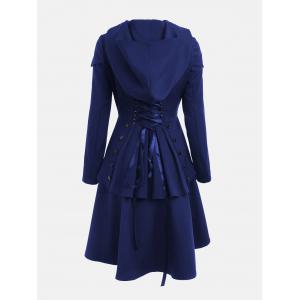 Lace Up Layered High Low Hooded Coat - ROYAL 2XL