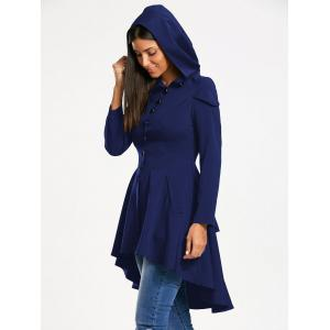 Lace Up Layered High Low Hooded Coat - ROYAL M
