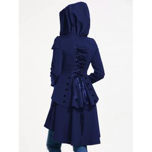 Lace Up Layered High Low Hooded Coat - ROYAL S