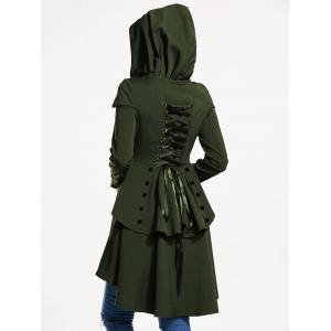 Lace Up Layered High Low Hooded Coat - ARMY GREEN XL
