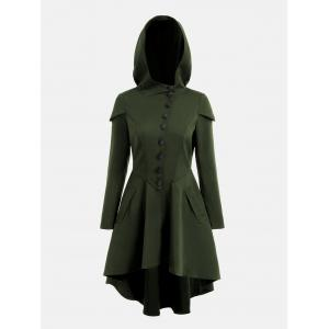 Lace Up Layered High Low Hooded Coat - ARMY GREEN L